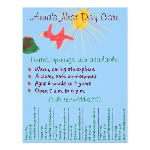 Care Flyer  Day Care Flyer W TearOff Info
