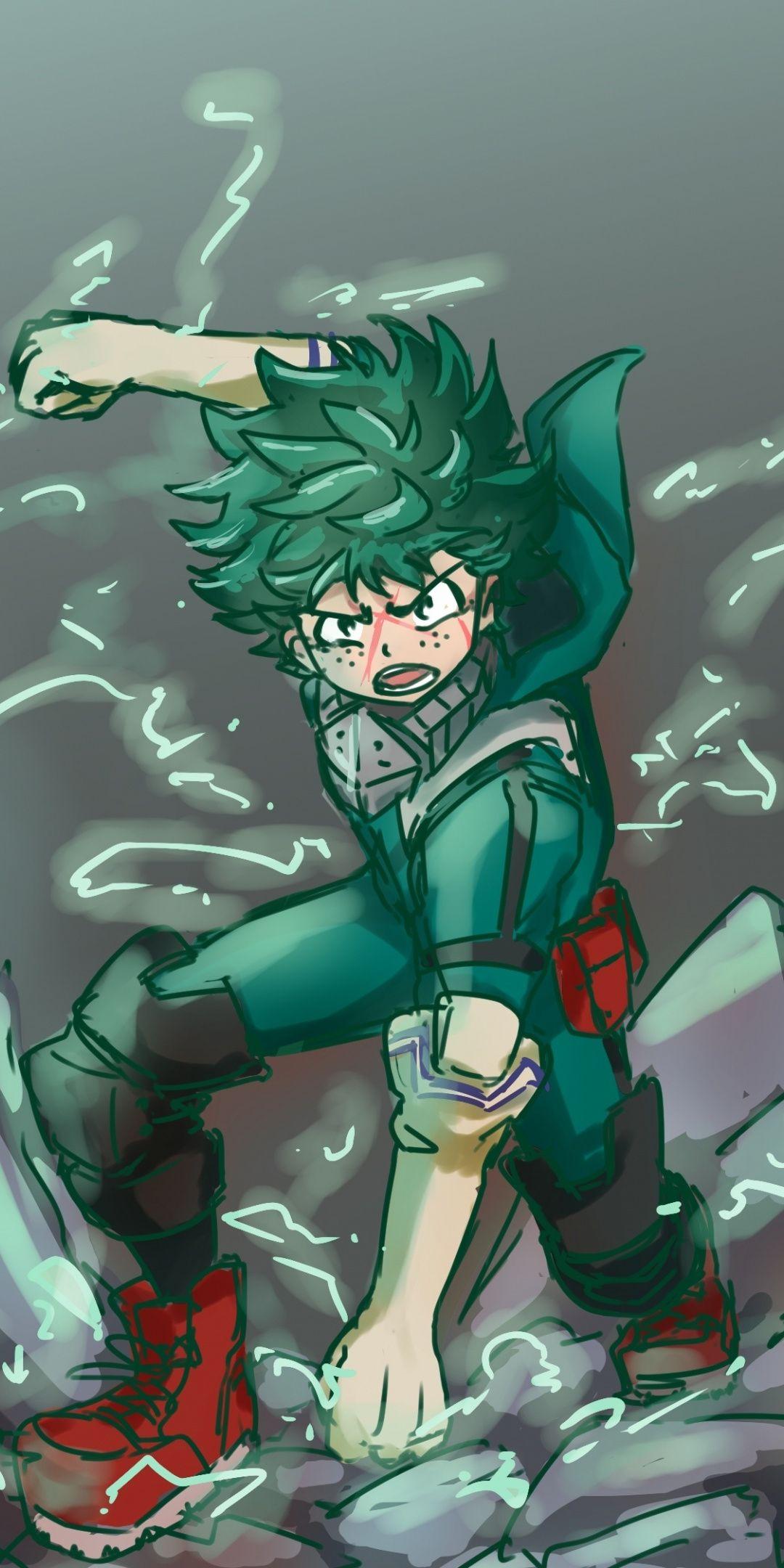 Angry, green hair, anime boy, Izuku Midoriya, 1080x2160