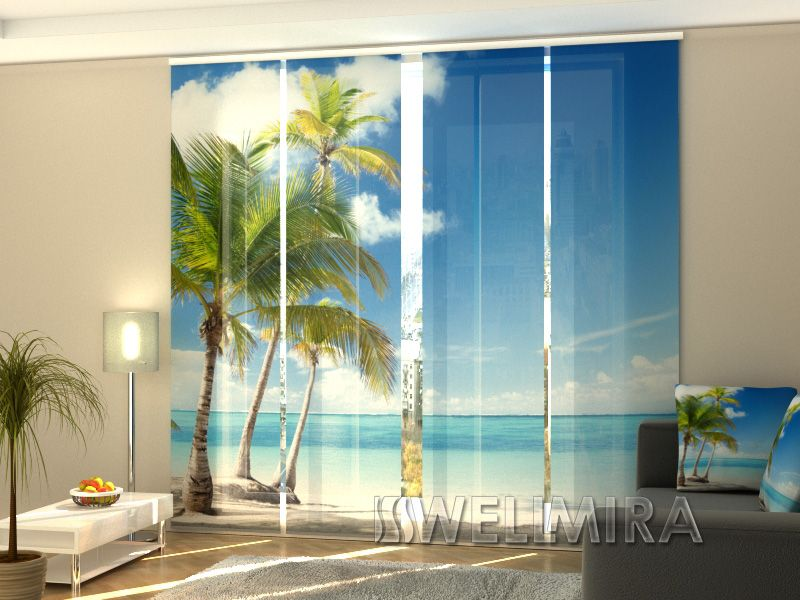 Window Curtain Wellmira Printed with Ocean Beach Image for Living Room 3D