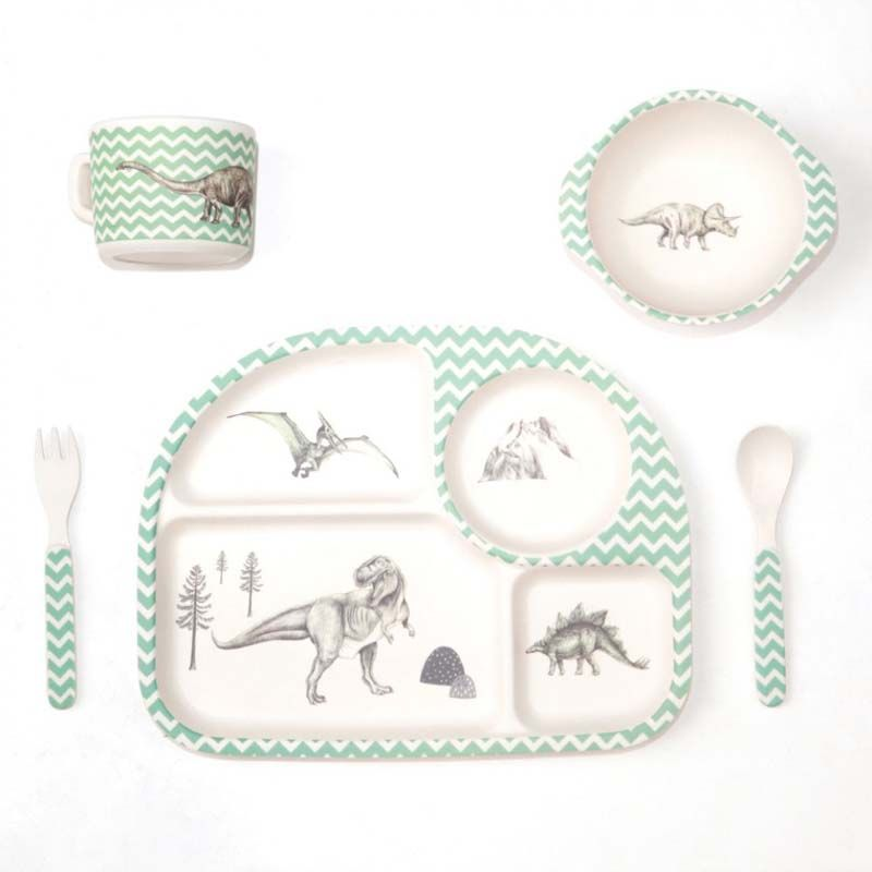 Love Mae - Kids Dinnerware - 5 Piece Bamboo Dinner Set Dinosaur Feast  sc 1 st  Pinterest & Love Mae - Kids Dinnerware - 5 Piece Bamboo Dinner Set Dinosaur ...
