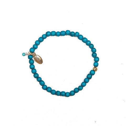 Dark Turquoise Protection & Confidence- 4mm wood bead bracelet - Lifetherapy
