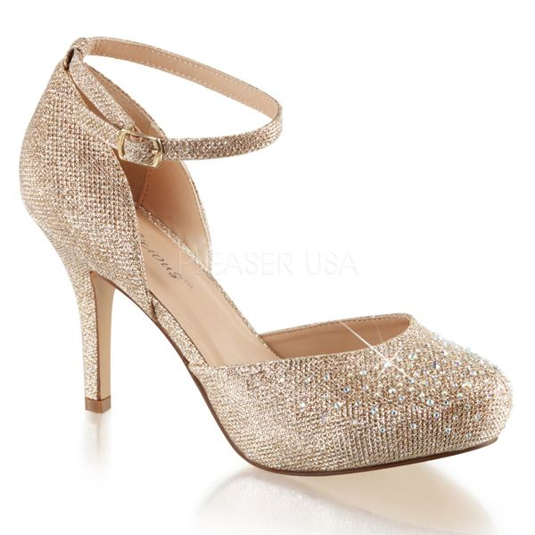 Fabulicious Shoes Covet-03 Nude Glitter Mesh Ankle Strap D&39orsay