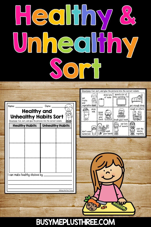 Healthy habits and unhealthy habits sort worksheet
