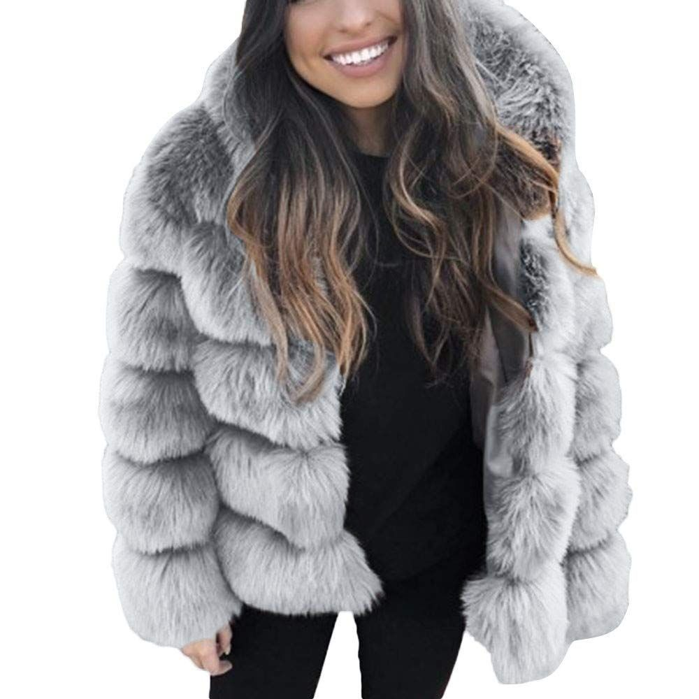 daa7e3a1d JOFOW Womens Coat Solid Faux Fur Hooded Jacket Warm Padded Fuzzy ...