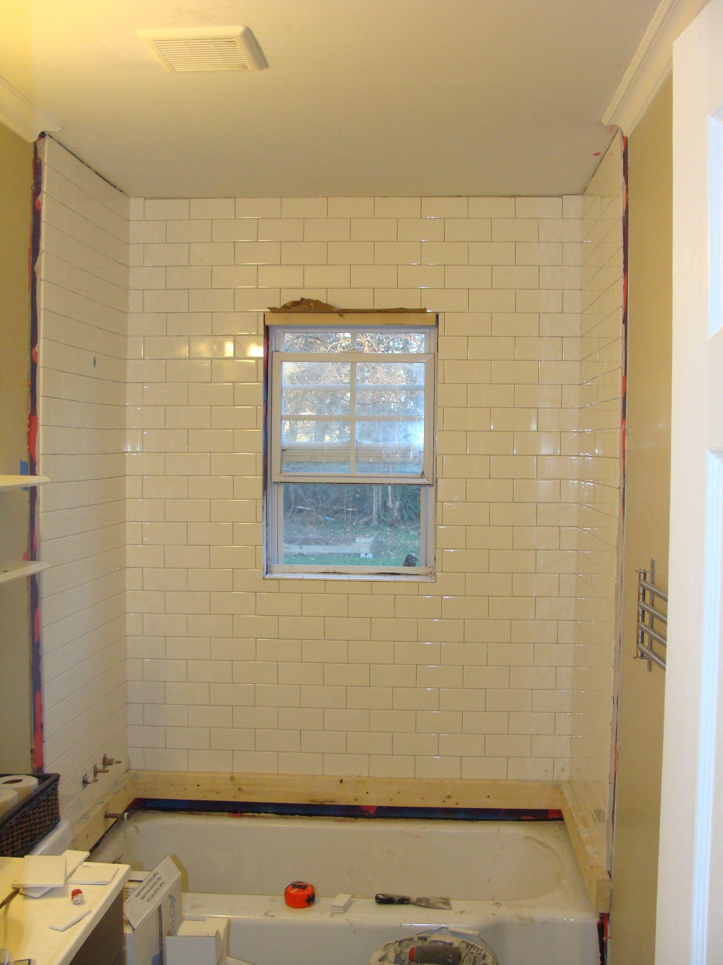 Bathroom Overhaul Chapter 2 Tiling The Shower Window In Shower Simple Bathroom Bathroom Windows