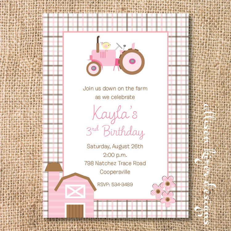 Invitation With Wording Fire Up Your Tractor And Put It In Gear Baby Is Almost Printable Invitations Baby Shower Invites For Girl Farm Party
