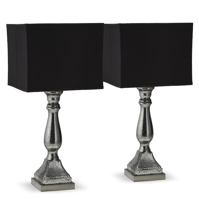 Home accessories silver black mercury 2 pack table lamp set value city furnitureaccent