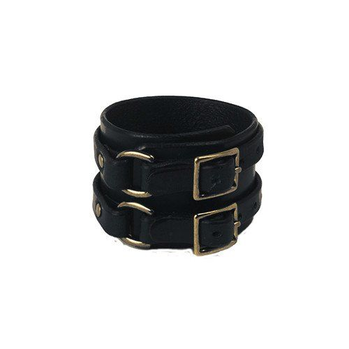 Double Buckle Cuff - Black with Antique Brass finish