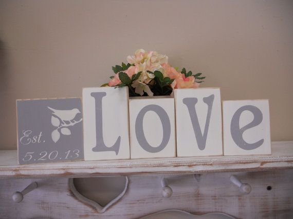 Wedding Blocks Love Established Date Cake Table by SweetDayDesigns, $27.95