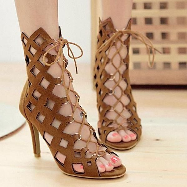 894d690c85f5d Lace up Women's Sandals Peep Toe High Heel Shoes Sandals For Women. Check  out the latest trending high heels fashion ...