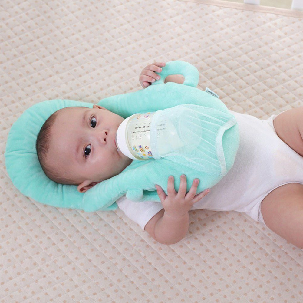 Green Multifunctional Portable Baby Feeding Pillows Portable Detachable Self-Feeding Lounger Baby Bottle Holder Infant Cushion
