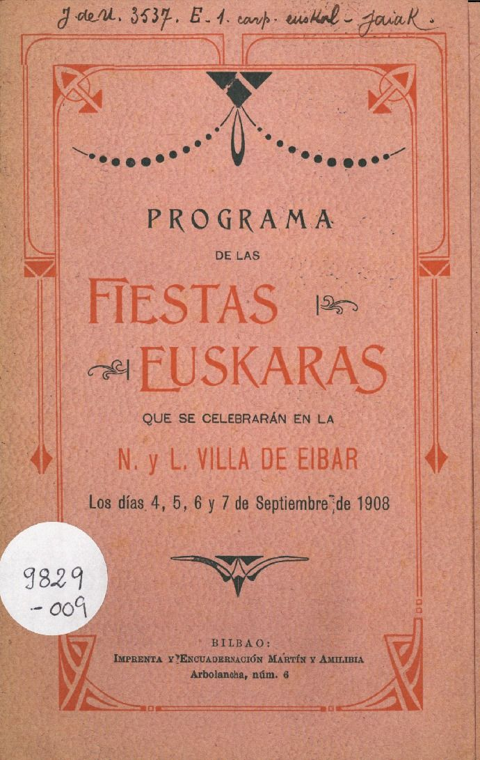 Fiestas Euskaras Eibar 1908 Fiesta Imprenta