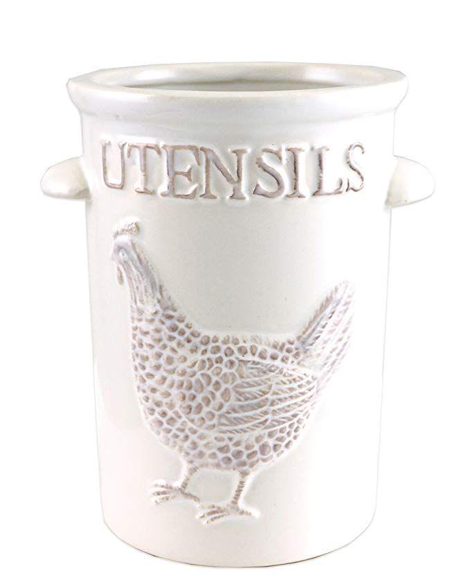 farmhouse rooster kitchen utensil ceramic holder kitchen utensil crock rooster kitchen white on farmhouse kitchen utensils id=31788