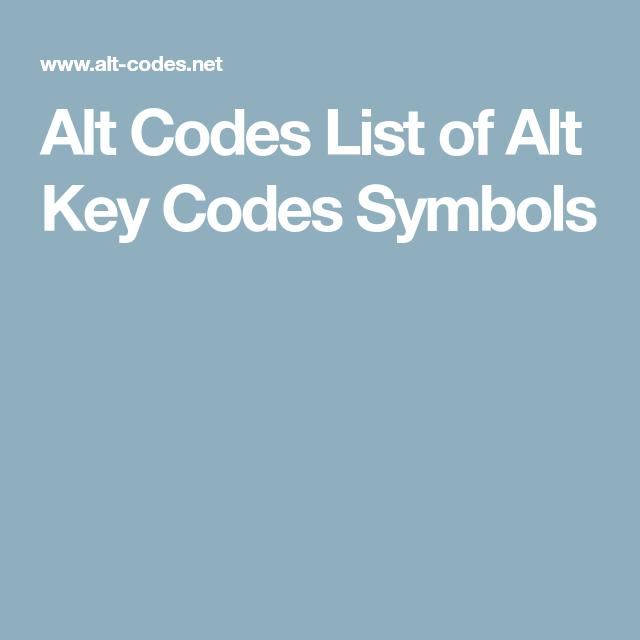 Alt Codes List Of Alt Key Codes Symbols Ortografa Y Lenguaje