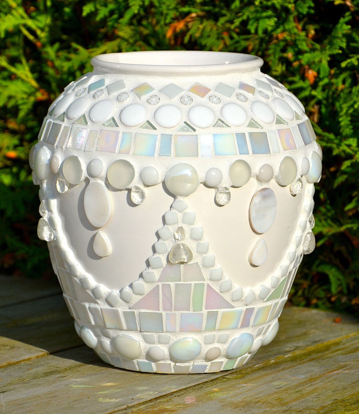 White Glass Mosaic And Ceramic Flower Vase Mosaic Flower