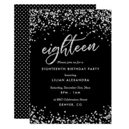 Classy 18th Birthday Invitation Sparkly Confetti Invitation