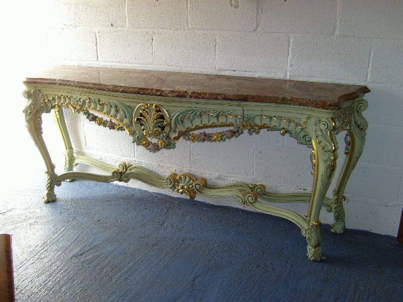 Antique Furniture · Impressive French Rococo Style Console Of Serpentine  Form With Marble Top Supported By Cabriole Legged Frame