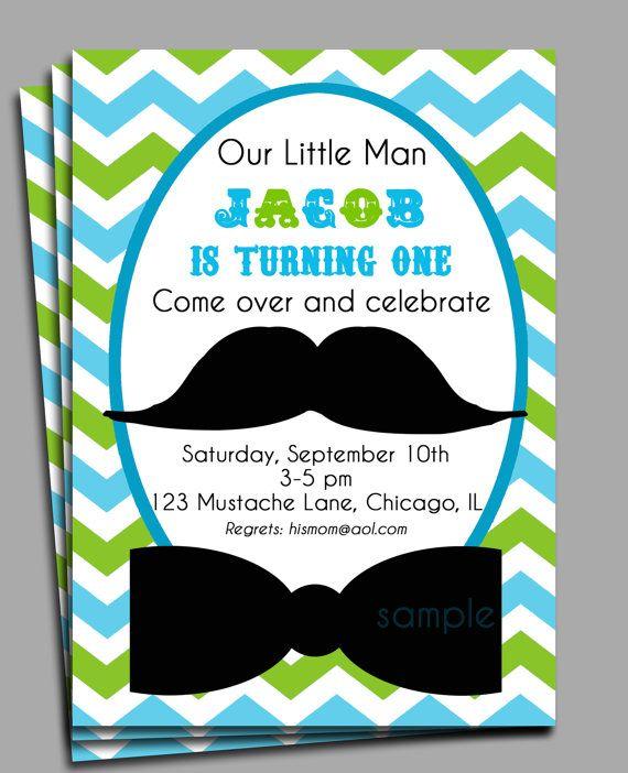 Little Man Mustache Invitation Printable Mustache Bash for – Little Man Mustache Party Invitations