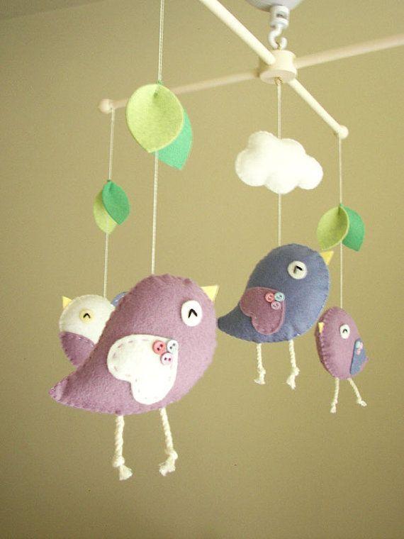 Baby Crib Mobile Bird Felt Nursery By Feltnjoy 85 00