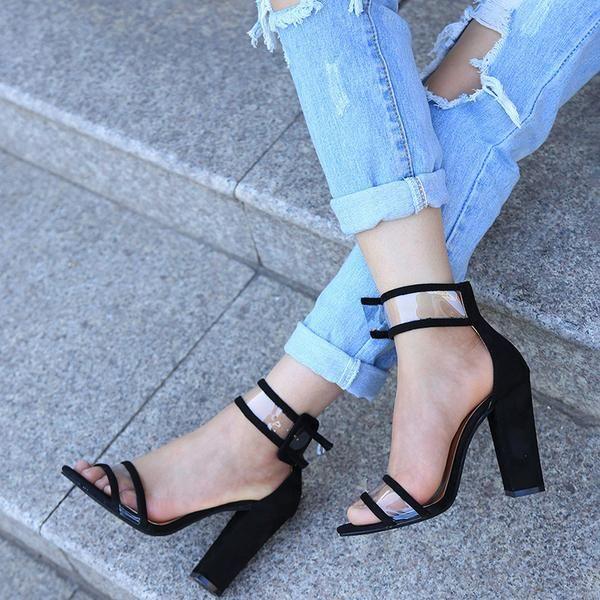 5fea48d6686 #EnvyWe #FSJshoes - #FSJ Shoes Black Ankle Strap Sandals Clear Open Toe  Block Heels - EnvyWe.com