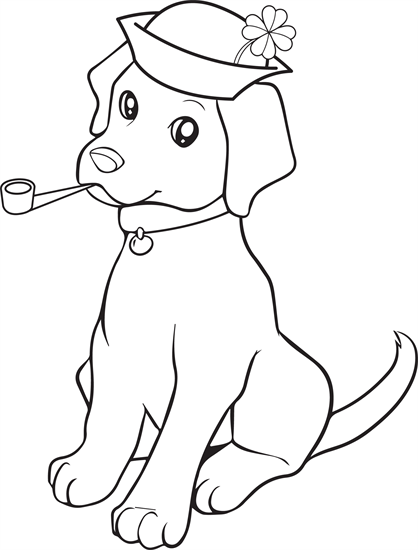 St. Patrick\'s Day Puppy Coloring Page