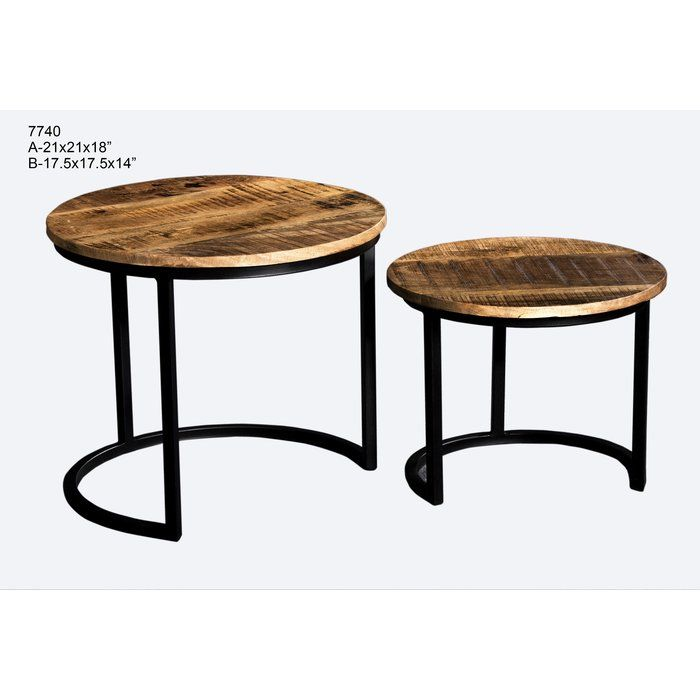 The Round Small Coffee Tables Set Of Two Nested Having Black Painted Metal And Rough Look Mango Wood Tops Gives T Table Small Coffee Table Coffee Table Setting Set of two end tables