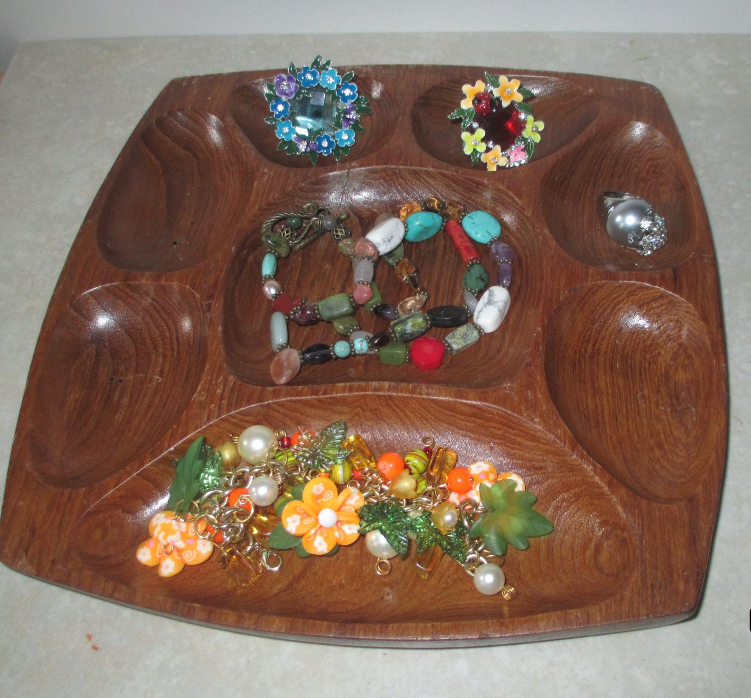 Monkey Pod Wooden Serving Tray Jewelry Organizer Tabletop Collect