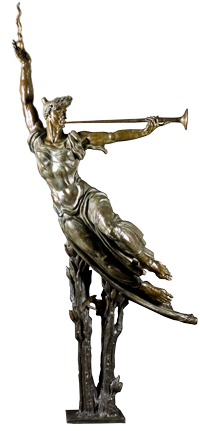 """The Spirit Triumphant"" by Donald DeLue. 1971 bronze. In the collection of The Mennello Museum of American Art, Orlando, FL."