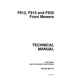 repair manual john deere f912 f915 f935 front mowers technical rh pinterest com John Deere L111 Service Manual John Deere LT133 Owner's Manual