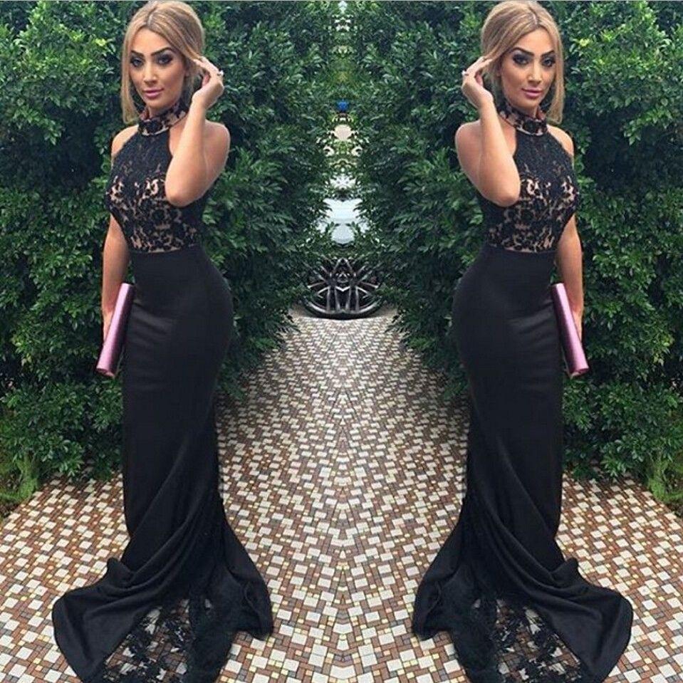 Amazing Black Lace Halter Mermaid Prom Dresses Long 2017 Chic ...