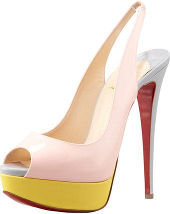 0ae00c40ae06 Christian Louboutin Dy Peeptoe Colorblock Red Sole Slingback Pink - Lyst