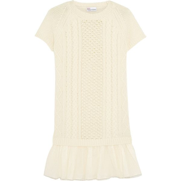 REDValentino Point d'esprit tulle-paneled wool mini dress (5.695 NOK) ❤ liked on Polyvore featuring dresses, ivory, ivory dress, wool mini dress, white wool dress, short dresses and white mini dress