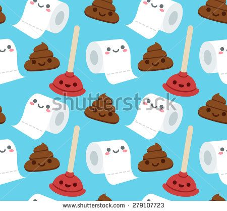 Make Photo Gallery Seamless pattern of bathroom related objects with cute cartoon faces roll of toilet paper