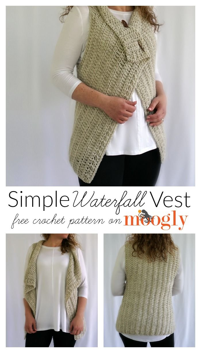 Simple Waterfall Vest - free crochet pattern in 4 sizes (Small to 5X ...