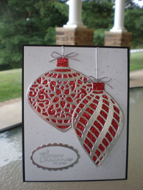 Red Glimmer Christmas Ornaments~ by stampin'nana -