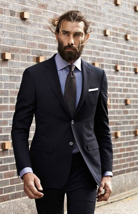 Men's Black Suit, Light Blue Chambray Dress Shirt, Black Vertical ...