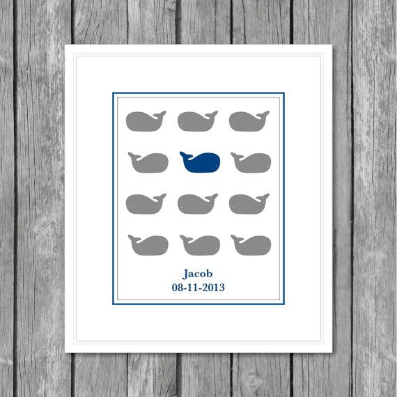PERSONALIZED Grey and blue, digital, whale print.  Coordinates with The Land of Nod, Make a splash.  New School series.