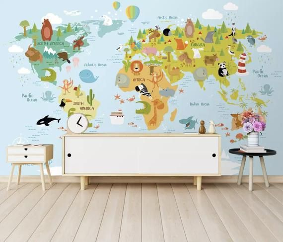 3D The world map Self-adhesive Removable Wallpaper Wall Mural Sticker 023
