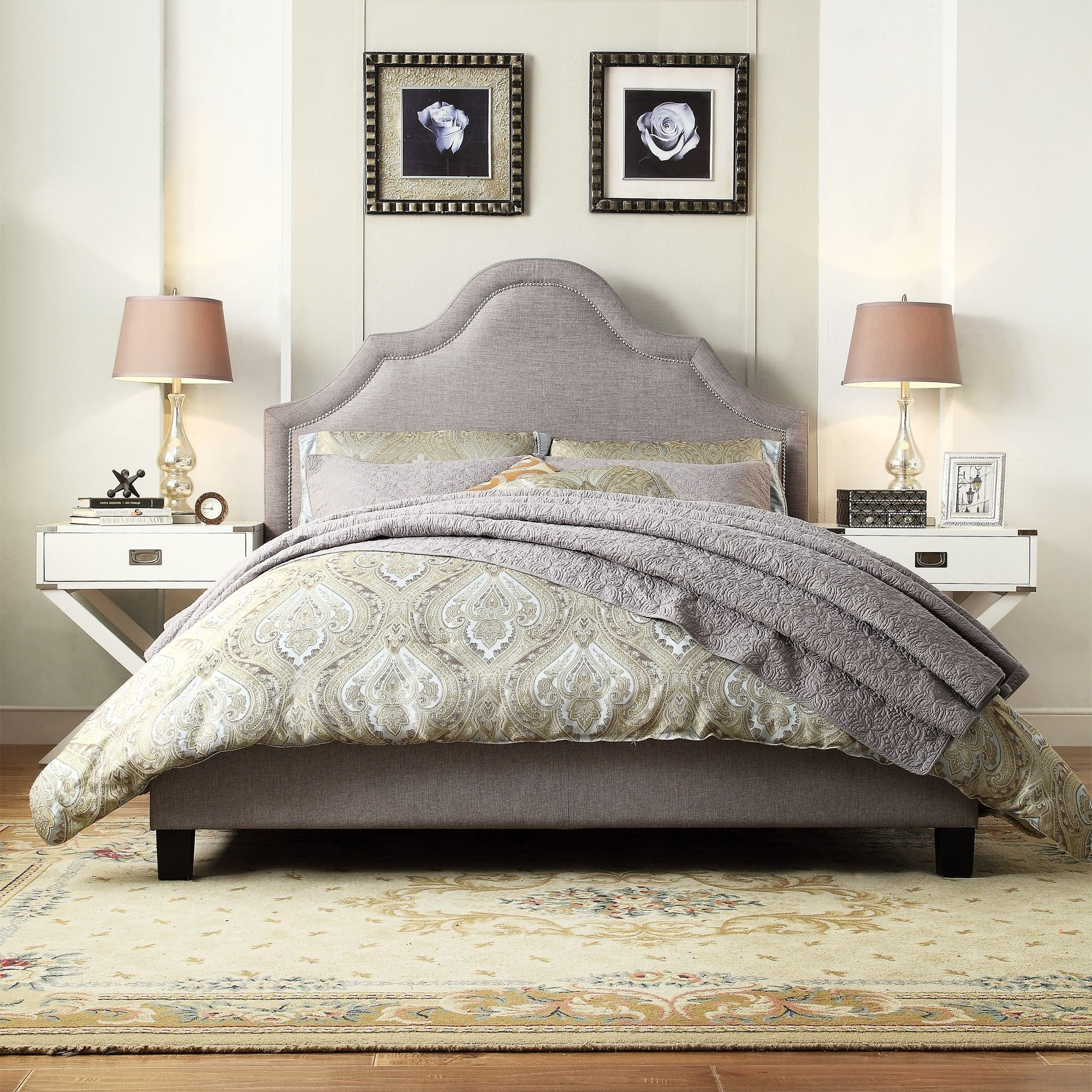 Fletcher Linen Nailhead Arch Curved Upholstered Full Bed by Inspire Q (Platform  Bed- Grey