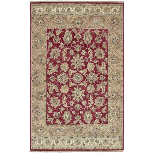 Timeless Red Plush Pile Rectangle Wool Rug (L 102 X W 66)