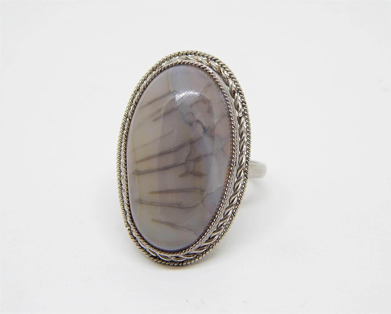 quarzo dendritico anello ovale, Аnello con agata dendritica, anello con paesaggio naturale, anello pietra grigia, anello con pietra gemma by HELGASHOP on Etsy
