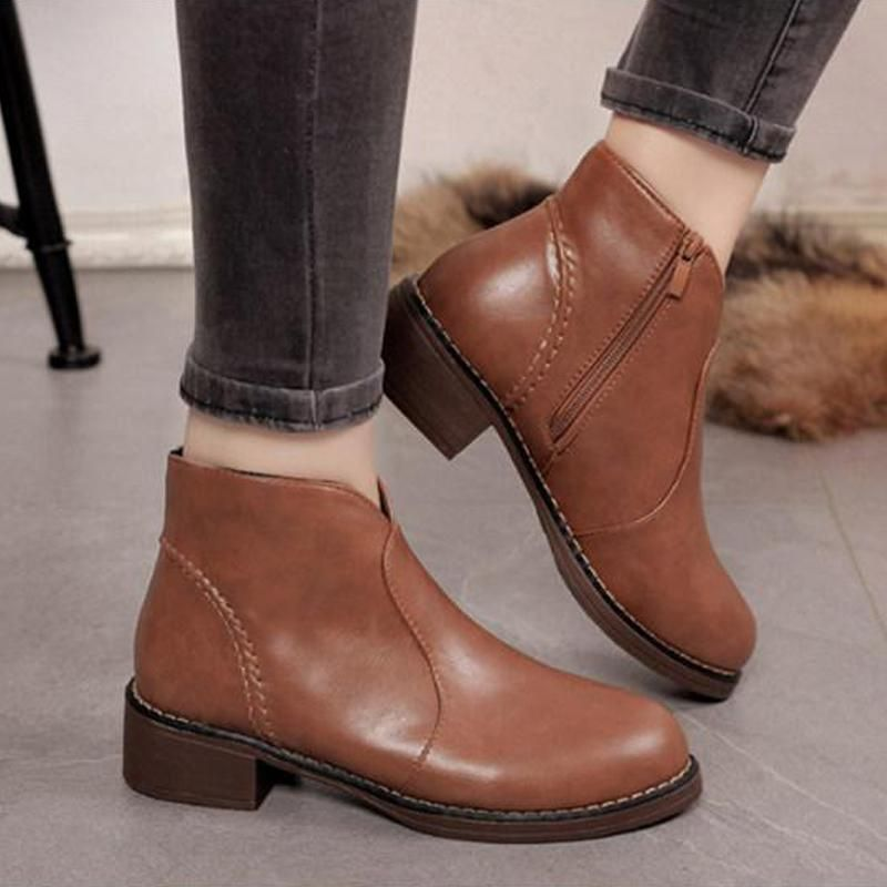 f12ce6c4120 Plain Flat Round Toe Casual Date Ankle Ankle Boots Shop the last street  style fashion boots fall for Women at EBUYTIDE.COM Free Shipping Over  59   boots ...