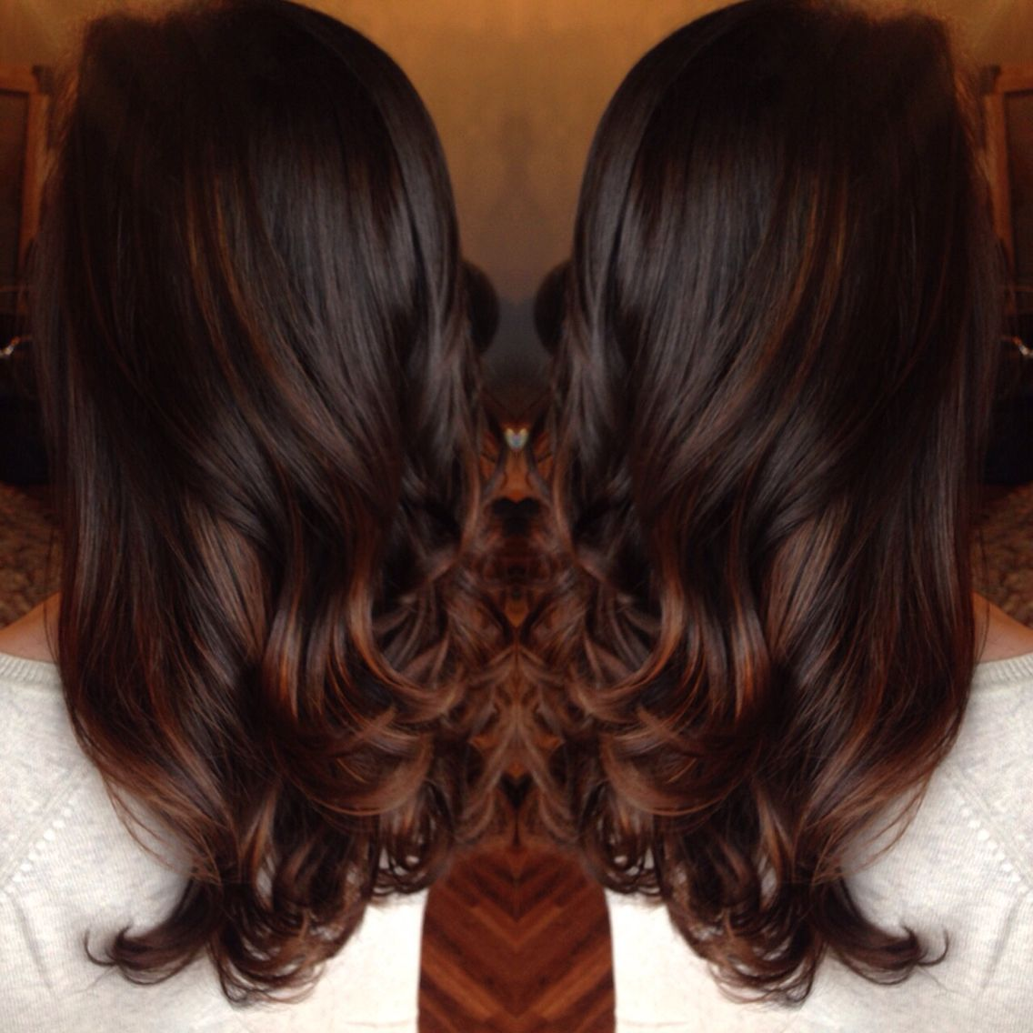 Chocolate Brown Red Balayage Hand Painted Highlights By Stylist