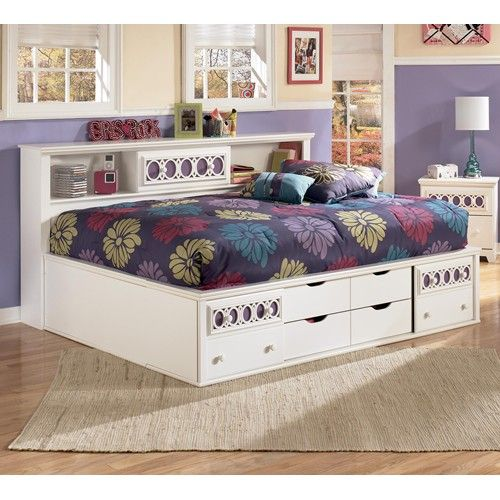 Zayley Full Bedside Bookcase Daybed With Customizable Color Panels