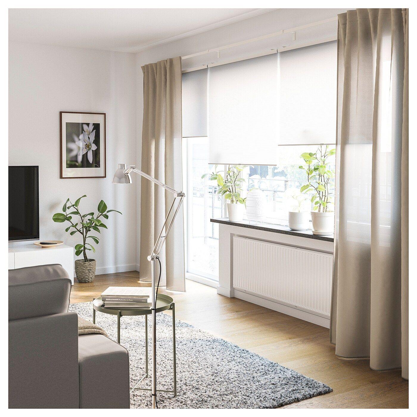 IKEA VIDGA Gardinenschienen-Set 1lfg mit Ecke – weiß
