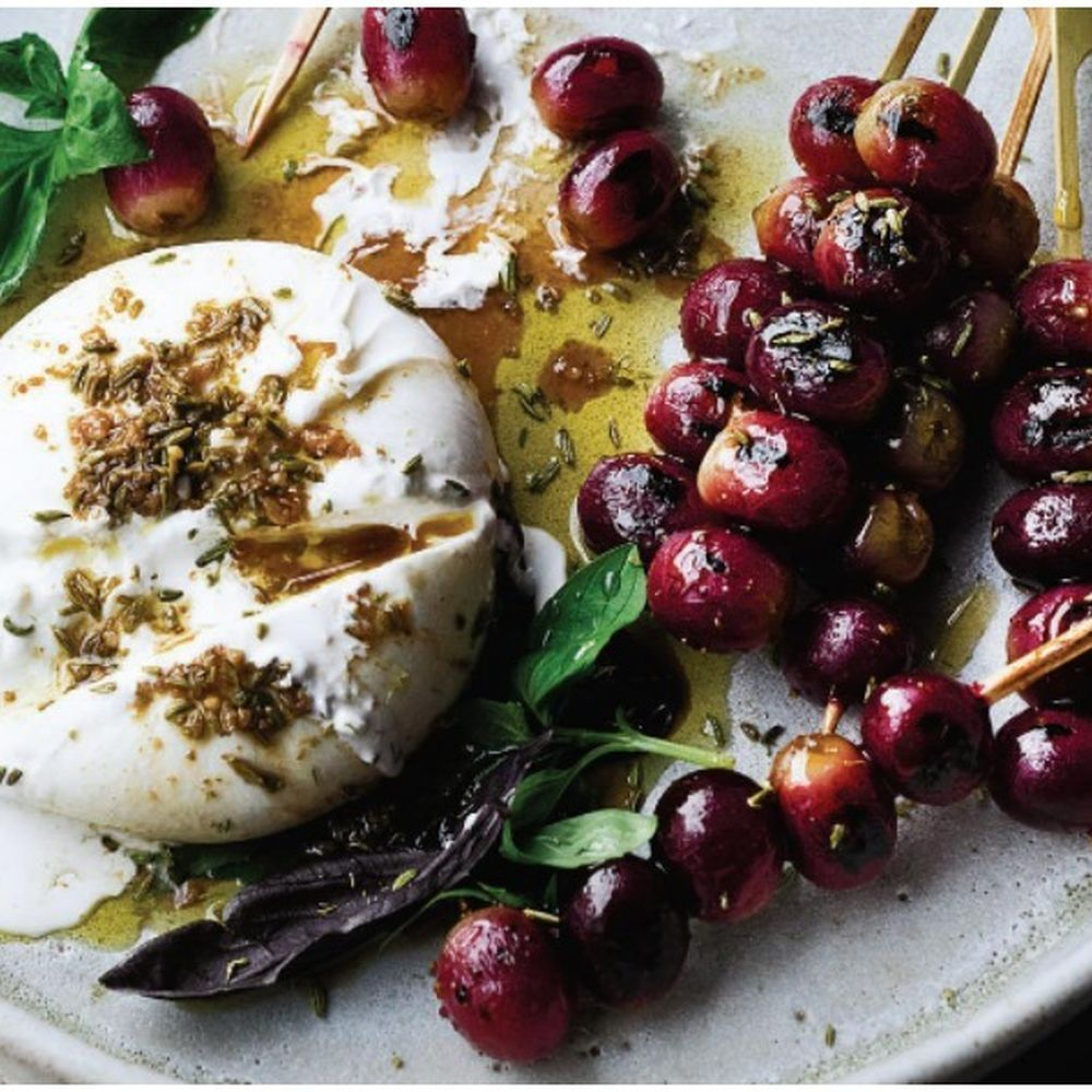 Ottolenghi's Burrata with Grilled Grapes & Basil R