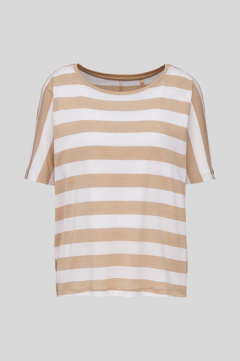 Damen T Shirt Gestreift Weiss Beige In 2020 T Shirt Shirts T Shirt Damen
