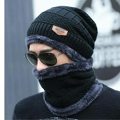 8da39c6f60 Neck warm winter hat knitted hat scarf two-piece cap Winter Caps men Caps  men's knitted cap Fleece Knit hats Skullies Beanies