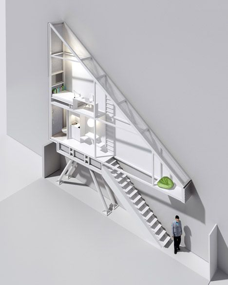 The Keret House Is Squeezed Into A Crevice Between Two Buildings In The Centre Of Warsaw And Will Provide A Temporary Home For Narrow House House Living Design