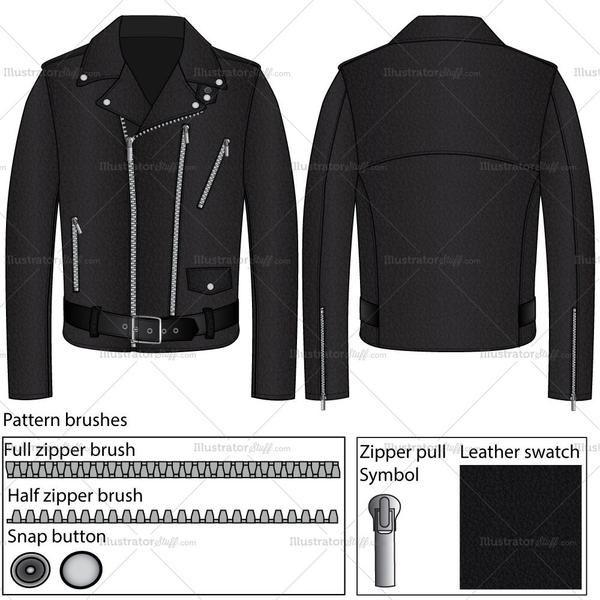 Men's Leather Jacket Fashion Flat Template | Fashion flats